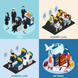 Airplane Passengers Concept Icons Set