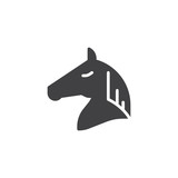 Horse head icon vector, filled flat sign, solid pictogram isolated on white. Symbol, logo illustration.