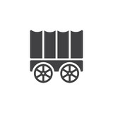 Horse carriage wagon icon vector, filled flat sign, solid pictogram isolated on white. Symbol, logo illustration.