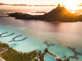 Aerial view of Bora Bora with sunset on Mount Otemanu in French Polynesia. - 191463285
