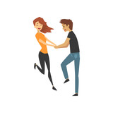 Young man and woman characters dancing, happy romantic couple in love cartoon vector Illustration - 191468050