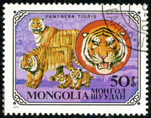 Fotobehang Tijger Ukraine - circa 2018: A postage stamp printed in Mongolia show Tiger or Panthera tigris. Series: Wild cats. Circa 1979.