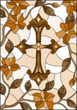 Stained glass illustration with a cross in the sky and flowers,brown tone , Sepia - 191474248
