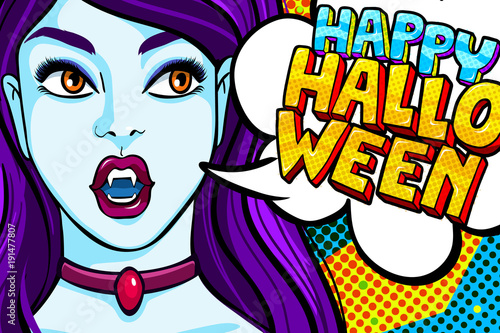 Papiers peints Pop Art Vampire girl and Happy Halloween Message
