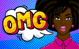 African american woman face in pop art style. - 191478028