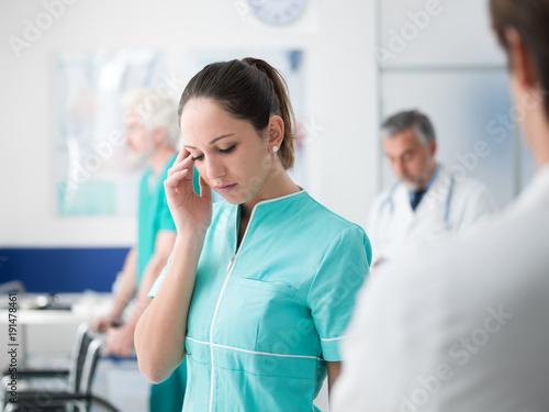 Healthcare worker having an headache