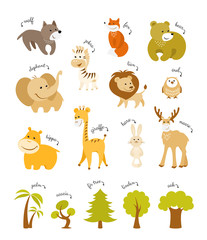 Cute animals vector set. Forest animals and african animals with trees on white background