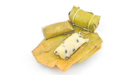 Mush stuffed with banana leaves.