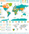 Political Colored World Map Vector Info Graphic