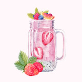 Watercolor smoothie vector illustration - 191491684