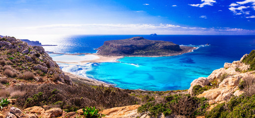 Amazing beautiful Greece - Balos bay with turquoise waters. Crete island