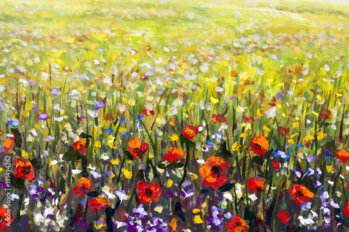 Aluminium Meloen Flowers painting, red poppies, oil paintings landscape impressionism artwork