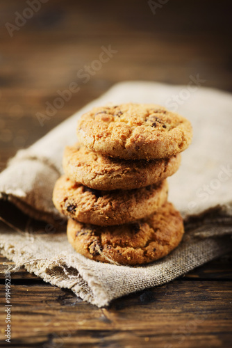 Traditional american cookies with chocolate
