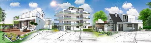 Leinwanddruck Bild Concept immobilier et construction de maison