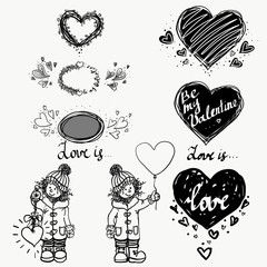 love, cute small girl and heart. Winter. Hand drawn vector illustration set