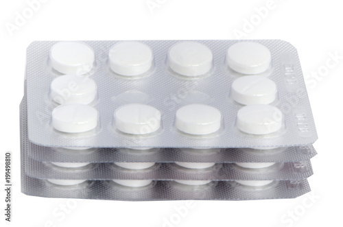 white tablets are in blisters, macro