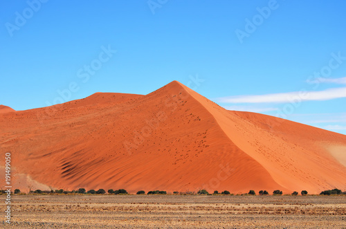 In de dag Oranje eclat Sossusvlei, Namib Naukluft National Park, Namibia