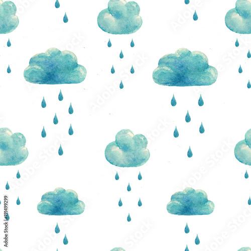 Watercolor rain clouds pattern