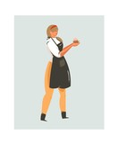 Hand drawn vector abstract modern cartoon cooking time fun illustrations icon with cooking chef woman in black apron holds cupcake isolated on white background - 191500270