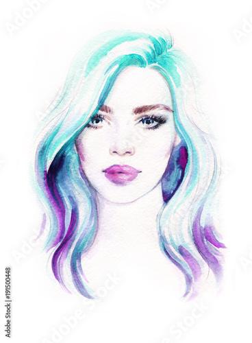 Fotobehang Anna I. Beautiful woman . Fashion illustration.