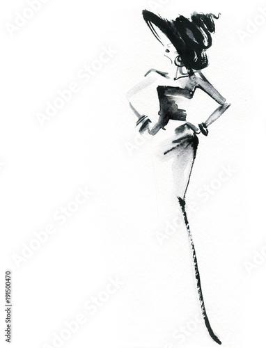 Fotobehang Anna I. Elegant dress. Fashion illustration.