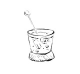 Hand drawn vector abstract artistic cooking ink sketch illustration of alcohol cocktail glass shake drink isolated on white background - 191502254