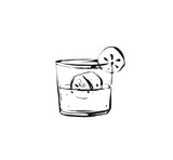Hand drawn vector abstract graphic artistic cooking ink sketch illustration drawing of cocktail drink in glass isolated on white background - 191502273