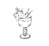 Hand drawn vector abstract artistic cooking ink sketch illustration of tropical pineapple lemonade cocktail shake drink in glass isolated on white background.Diet detox concept - 191502285