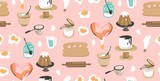 Hand drawn vector abstract modern cartoon cooking time fun illustrations icons seamless pattern with cooking equipment,cakes and food isolated on pink pastel background - 191502875