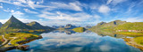 Lofoten Islands summer landscape panorama, Norway