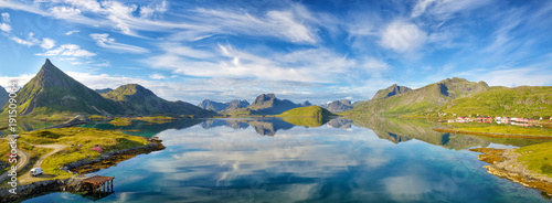 Lofoten Islands summer landscape panorama, Norway