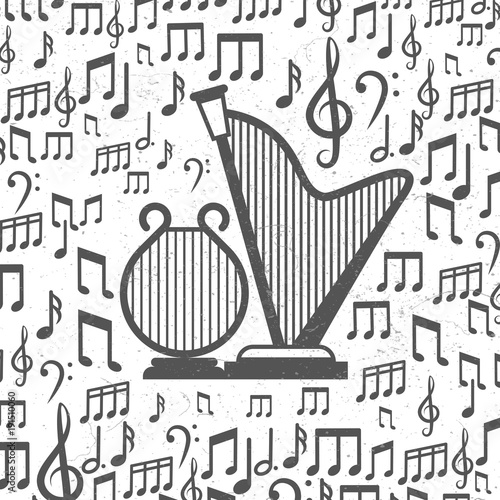 Fotobehang Muziek Music background with harps and notes