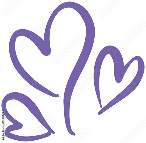 Hand Written Heart Love Shapes Vector Illustration