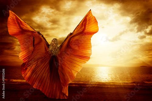 Woman Dancing Wings Dress,...