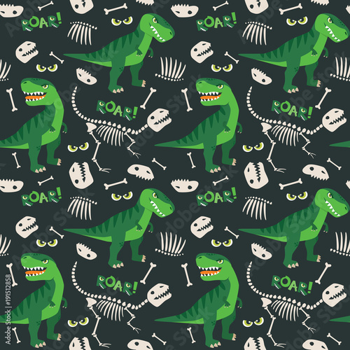 Cotton fabric T Rex and Dino Bones Roar Seamless Pattern Dark Background Vector Illustration