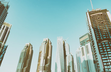 DUBAI, UAE - NOVEMBER 22, 2015: Dubai Marina skyline aerial view. Dubai attracts 30 million people every year