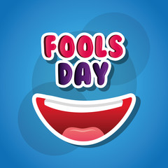 laughing mouth happy april fools day card blue background vector illustration