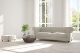 Idea of white room with sofa and summer landscape in window. Scandinavian interior design. 3D illustration - 191518866