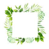 Green leaves frame template.  Vector illustration. - 191519056