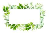 Green leaves frame template.  Vector illustration. - 191519057
