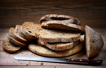 Sliced rustic bread. Whole grain bread with seeds