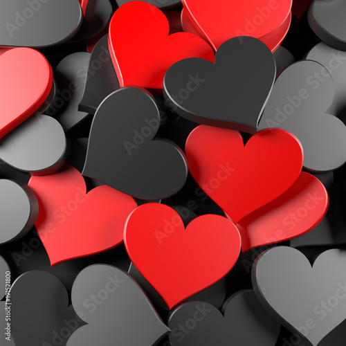Black and red hearts background. Concept for Valentine's Day, Women's Day, and others. 3D Rendering. - 191521800