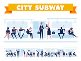 City Public Transport. Passengers in city subway, inside underground train. Flat Vector illustration. Info graphics elements.  - 191522202