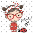Cute Cartoon Girl with glasses