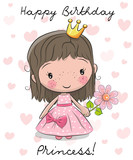 Happy Birthday Card with little Princess - 191523896