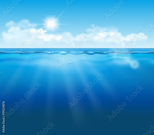 Tuinposter Koraalriffen Vector realistic empty underwater view with blue sky, clouds and sun and light effects