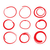 Red Circle Grading Marks with Swoosh Feel - Marking up Papers - 191528648