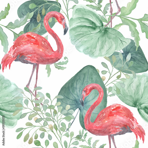 Seamless watercolor tropical pattern with tropical leaves, birds Flamingo on a white background. © brusnika9