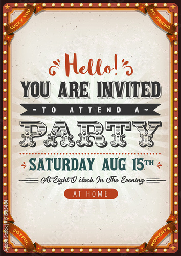 Fotobehang Vintage Poster Vintage Party Invitation Card