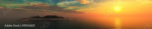 Fotobehang Diepbruine Panorama of the sea landscape at sunset, sunrise in the ocean over the island